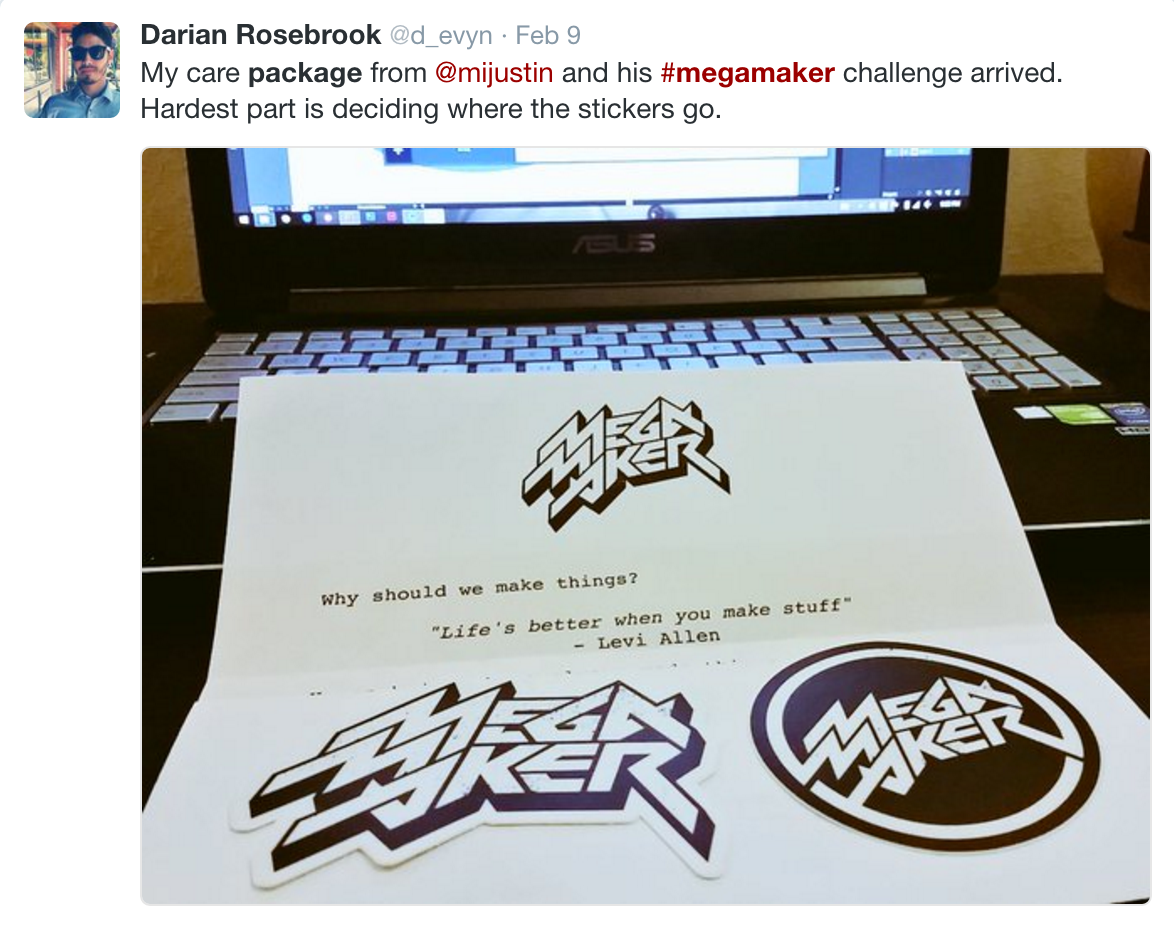 A letter in the mail from Justin Jackson, MegaMaker stickers