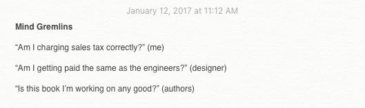 Mind gremlins in Justin Jackson's notepad