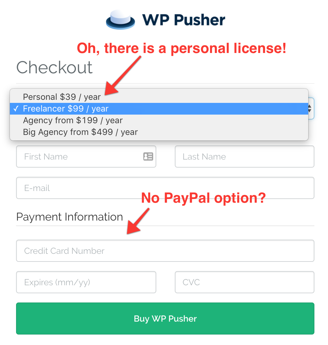 WordPress plugin checkout screen