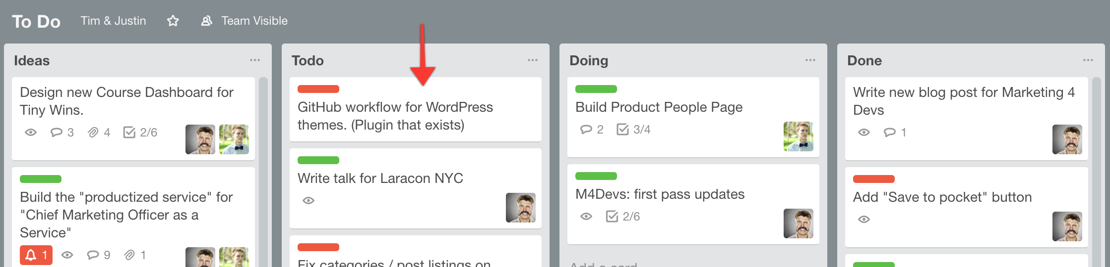 GitHub Wordpress Plugin on my Trello board
