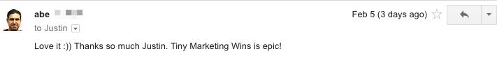 """Love it! Tiny Marketing Wins is epic!"""