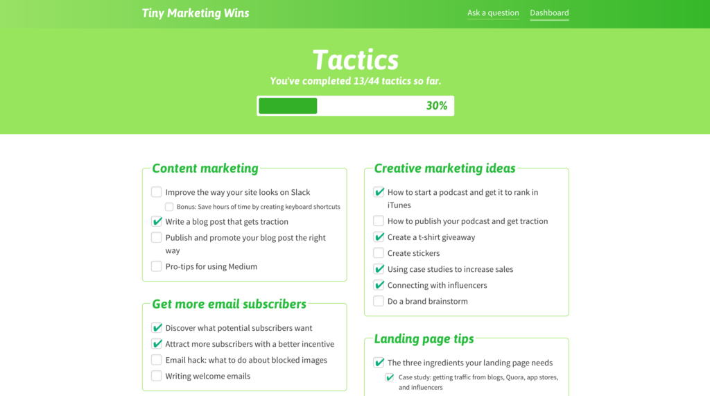 Tiny Marketing Wins dashboard shows you your progress