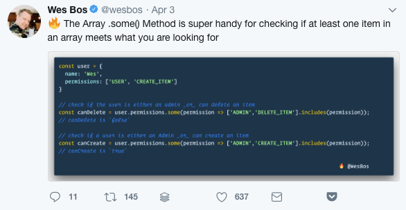 Wes Bos' code tweets are fire