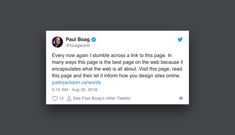 """Paul Boag tweet: """"This is the best page on the web."""""""